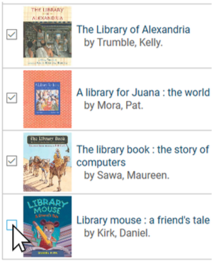 Select multiple items in BiblioCommons catalog