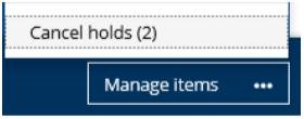 Manage Items menu in BiblioCommons catalog