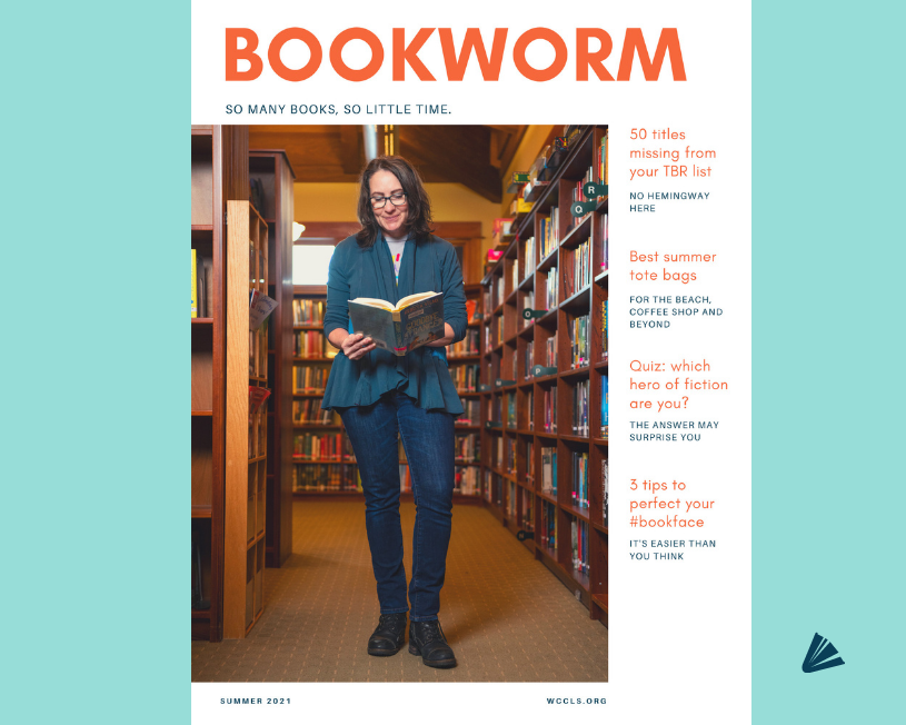 Magazine cover featuring a woman wearing blue, standing in a library reading a book