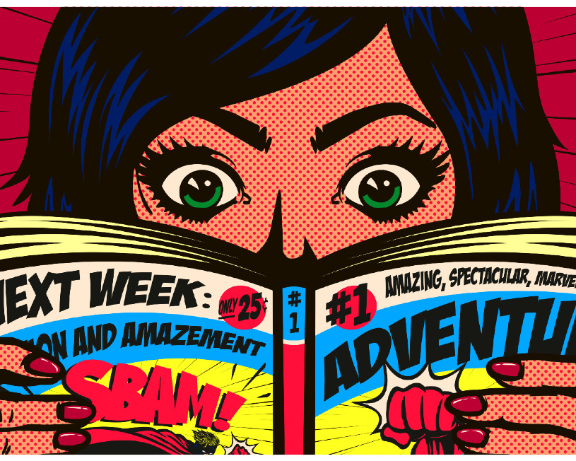 Illustration of woman reading a comic book