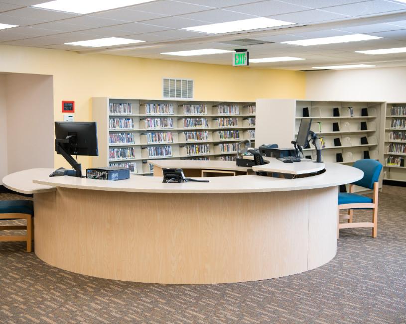 Service desk at West Slope Library after 2021 remodel