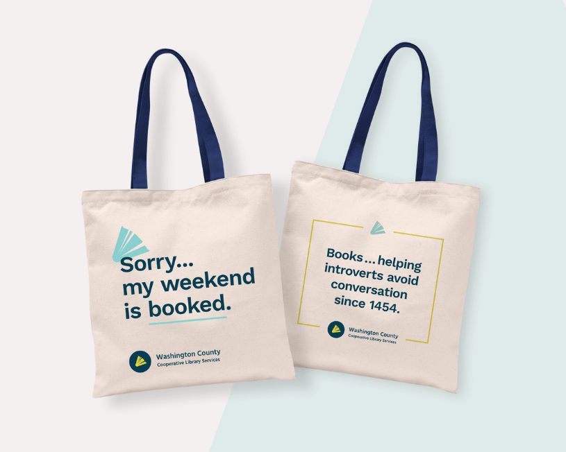 Two totebags: Sorry... my weekend is booked; Books ... helping introverts avoid conversation since 1454